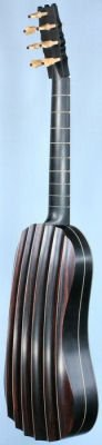 4-course fluted back guitar rear view in perspective