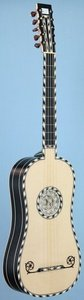 Voboam model baroque guitar front view in perspective