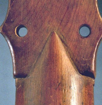 Neck to peg head join of the Chambure (E.0748) vihuela (rear view)