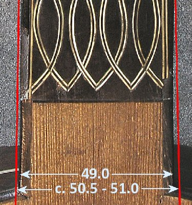 Current and original neck width of the Dias vihuela