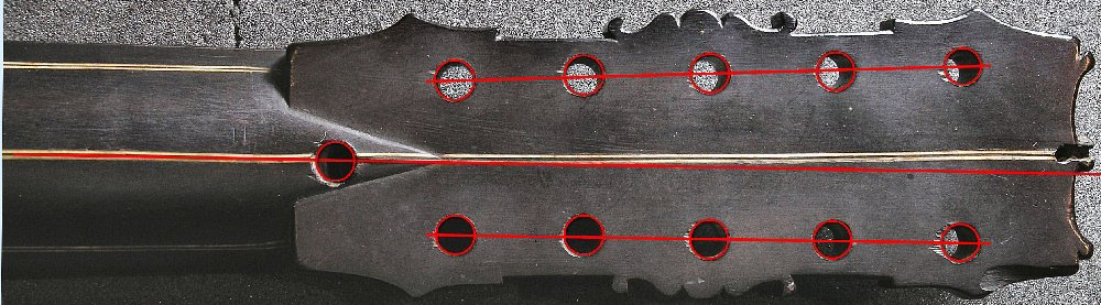 Peg holes layout of the Dias vihuela (rear side)